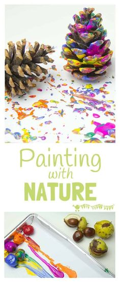 Autumn painting with nature is an exciting process art technique for kids that explores textures and patterns in a fun and open-ended way. Autumn painting with Fall Crafts, Kids Crafts, Pine Cone Crafts For Kids, Toddler Arts And Crafts, Painting Crafts Kids, Autumn Crafts Preschool, Kids Nature Crafts, Campfire Crafts For Kids, Crafts For Toddlers