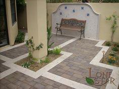 3 piece Pima blend pavers with cantera stone borders in Phoenix, AZ. - www.lonestaraz.com