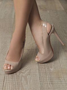 Christian Louboutin Cheyenne Nude Patent-leather Peep Toe Slingback Platform Sandals...... lovely.