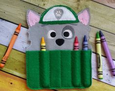 Recycle Pup Felt Crayon Holder by TreasuredForever on Etsy Paw Patrol Party, Paw Patrol Birthday, Cumple Paw Patrol, Frozen Decorations, Crayon Holder, Puppet Patterns, Puppy Party, Types Of Craft, Happy Birthday Banners