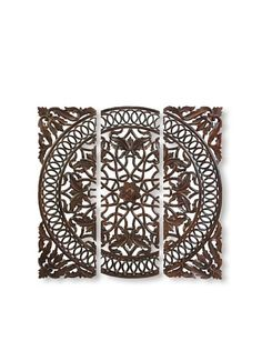 Set of 3 Carved Plaque Wall Panels