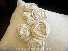Ink Blots & Polka Dots: Drop Cloth Rosette Pillow