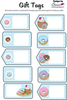 Free Gift Tags in blue for our sweets, donuts Gift Tags Printable, Printable Stickers, Printable Planner, Planner Stickers, Free Printables, Donut Birthday Parties, Donut Party, Donut Gifts, School Labels