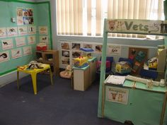 A super Vets classroom role-play area photo contribution. Great ideas for your classroom! Dramatic Play Themes, Dramatic Play Area, Dramatic Play Centers, Play Corner, Corner House, Play Based Learning, Learning Spaces, Eyfs Activities, Pet Vet