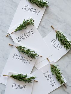 These unique place cards are perfect for a holiday wedding