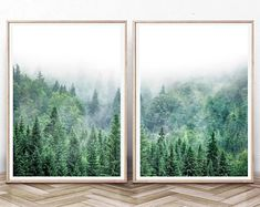 Set of 3 pine tree painting Art Print Gift Idea. Forest Decor, Forest Art, Woodland Forest, Studio Ghibli, Lightroom, Pine Tree Painting, Painting Art, Wal Art, Pine Trees Forest