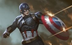 Download wallpapers Captain America, battle, superheroes, shield, Marvel Comics