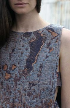 Rebekah Archer | Sustainable fashion design. Hand woven Jacquard using naturally dyed indigo silk and linen, and copper thread brocade. Zero waste garment pattern.  www.loricadesign.com