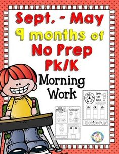 A whole year of No Prep Print and Go with this Pk – K morning work. There are 25 black and white pages each month for your little ones to practice emergent reading skills. 225 pages.