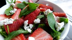 Oscar's Sandwich: Strawberry, Goat Cheese, and Mint Salad with Lime Vinaigrette