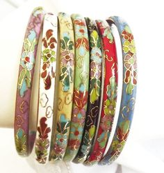 Vintage+Cloisonne+Jewelry | Cloisonne Bangle Bracelet Vintage - Jewelry Set of 7 - Originpriceal ...