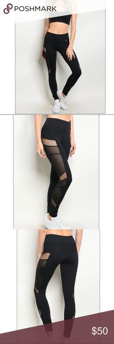 HP🎉🎉 Sale Black mesh athletic leggings Boutique item   Fitted body shaping spandex blend, full length athletic pants that features a mesh details along the leg  The material is thicker so it's not see through when working out  Fabric is 80% Nylon 14% Spandex 6% Polyester Pants Leggings