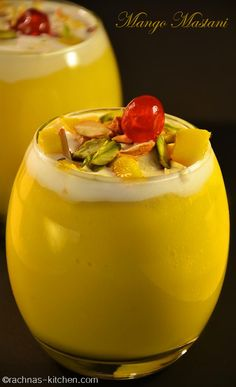 Mango mastani recipe- Mango mastani is a delicious thick mango milkshake served with ice cream along with dry fruits as toppings.