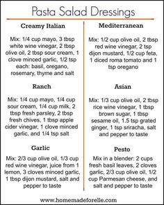 You don't have to get bored with the same ol… 6 Pasta Salad Dressing Recipes. You don't have to get bored with the same old mayo-based pasta dressing, try these 6 homemade variations to mix it up! Easy Pasta Salad, Pasta Salad Recipes, Sauce Recipes, Cooking Recipes, Homemade Pasta Salad, Dishes Recipes, Homemade Sauces For Pasta, Pork Marinade Recipes, Beef Recipes