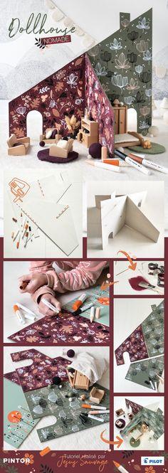 Comment réaliser une maison de poupée en kit, à emporter partout et à personnaliser / décorer avec les marqueurs peinture PINTOR #pilot #PintorDIY #Diyforkids #kidsdiy #dollhouse #DIY #wooddollhouse #woodtoys Diy Design, Dyi, Origami, New Homes, Miniatures, Gift Wrapping, Barbie, Crafts, Couture