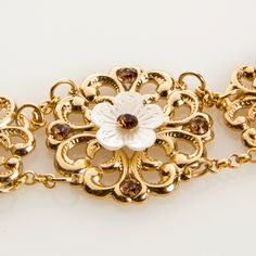 Wedding winter gold Flower bracelet, Swarovski crystals and crystal pearl, 24k gold plated - Jasmine