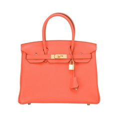 Hermes Orange Poppy Clemence Birkin 30cm Gold Hardware | From a collection of rare vintage top-handle-bags at https://www.1stdibs.com/fashion/handbags-purses-bags/top-handle-bags/