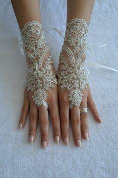 marco de plata marfil boda guante, guante de novia, ivory de encaje los pun ¢ os, de Novia de encaje marfil guantes, guantes Fingerless, guantes barco gratis