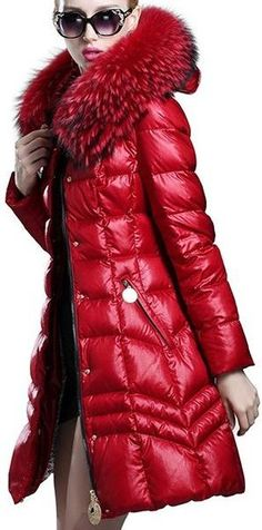 d71e3550f27 Fur Hooded Paneled Puffer Down Coat - (Red