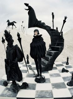 Ahh the fantasy and wonder in this Tim Walker for Vogue Italia December 2015 shoot - alice in wonderland comes to life as a chess piece #fashion by Junya Watanabe #style