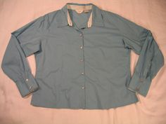 J JILL Small Long Sleeve Button Down Shirt Blue Cotton Solid  #JJill #ButtonDownShirt #Career