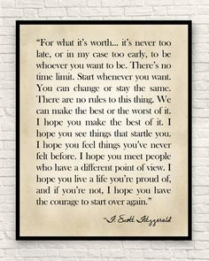 Scott Fitzgerald Quote Fitzgerald Quote Custom Art Print Farmhouse Decor For What it's Worth Christmas Gift Gift for Book Lovers Baby Quotes, Yoga Quotes, Poetry Quotes, Family Quotes, Words Quotes, Me Quotes, Sayings, Brother Quotes, Qoutes