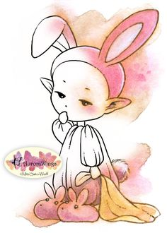 Digital Stamp - Sleepy Bunny Elf - Instant Download - Baby Elf in Bunny Pajamas - Whimsical Line Art for Cards & Crafts by Mitzi Sato-Wiuff