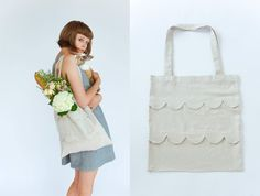 DIY scalloped tote bag (it especially helps to have a bunny, flowers, and a fabulous haircut)