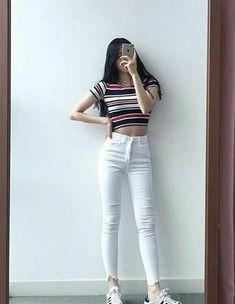 Korean Street Fashion - Life Is Fun Silo Korean Fashion Trends, Korean Street Fashion, Korea Fashion, Asian Fashion, Teen Fashion Outfits, Cute Fashion, Girl Fashion, Girl Outfits, Korean Outfits School