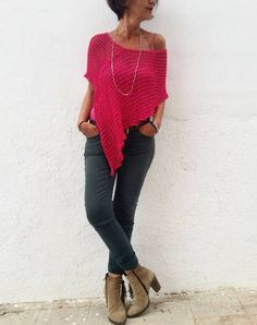 Items similar to Fuchsia top summer poncho summer top fuchsia clothes gift for her fuchs Poncho Knitting Patterns, Hand Knitting, Skirt Pattern Free, Knitted Cape, Plus Clothing, Knitted Blankets, Look Cool, Crochet Clothes, Knit Crochet
