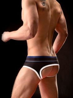 Jockstrap BARCODE Backless Brief Gustavo Preto Branco Azul