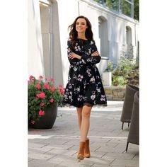 Rochie eleganta neagra cu model floral si dantela Smart Casual, Dresses With Sleeves, Long Sleeve, Floral, Model, Fashion, Moda, Sleeve Dresses, Long Dress Patterns