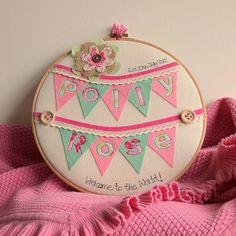 personalised baby girl hoop artwork by rachel & george | notonthehighstreet.com