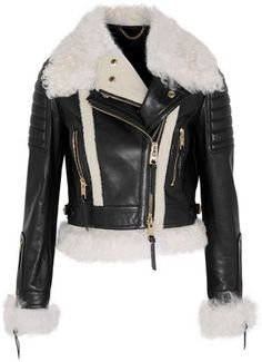 Burberry Cropped Shearling-Trimmed Leather Biker Jacket
