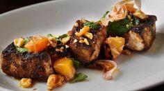 Grilled Mahi Mahi with Walnut and Peach Relish