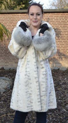 US832 Fashionable Ranch Mink Fur Coat Fox Fur Sleeve envelope Nerzmantel ~ XL 20 #NachtigalFursinGermany #BasicCoat