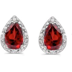 14K White Gold Pear Garnet and Diamond Earrings ($180) ❤ liked on Polyvore featuring jewelry, earrings, 14k white gold earrings, pear earrings, 14 karat white gold earrings, garnet jewelry and white gold jewellery