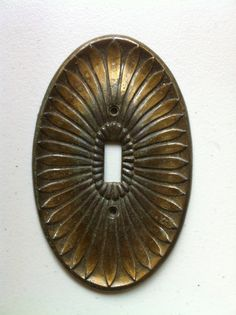 Vintage Solid Brass Light Switch Plate  1 Left by gcmx on Etsy