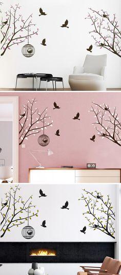 Wandtattoo Zweige Mit Vögeln Und Käfig Von Wandtattoo.com Wandgestaltung  Kinderzimmer, Zweige, Wandbilder