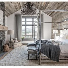 What a dream bedroom! Rustic and cozy, perfect for winter inspiration. By @locatiarchitects