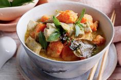 Awaken your senses with an aromatic chicken curry using coconut milk and tender sweet potato.