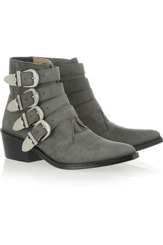 Toga Pulla|Buckled suede ankle boots|NET-A-PORTER.COM