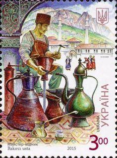 Ukrayna'nın Kırım Türkleri için bastırdığı bakırcı ustası isimli posta pulu.