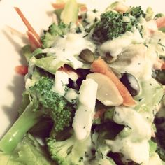 Simple #salad- broccoli and frisée w lemon, honey and dill yoghurt dressing #food #event Broccoli, Catering, Lemon, Honey, Menu, Dressing, Salad, Chicken, Vegetables