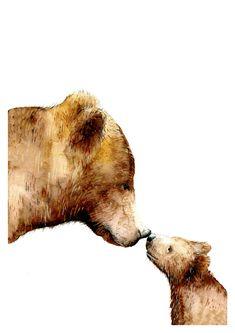 Baby Animal Nursery Wall Art Kids Room Decor Nursery Prints Baby Bear Woodland Animal Print Mama Bear and Baby Baby Shower Gift Baby Animal Nursery, Bear Nursery, Baby Animals, Woodland Nursery, Woodland Art, Wild Animals, Girl Nursery, Kids Room Wall Art, Nursery Wall Art