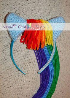 My Little Pony- Rainbow Dash Inspired Crochet Ears Headband on Etsy, $11.01 CAD
