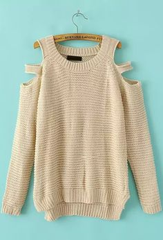 Beige Off the Shoulder Long Sleeve Knit Sweater