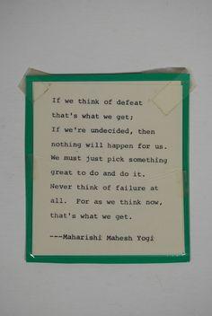 Andy Kaufman's mantra card.