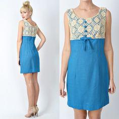 Vintage 60s 70s Blue Beige Mini Dress Crochet Lace Cocktail Mad Men Party s M | eBay