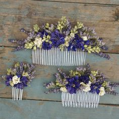 Provence Dried Flower Hair Comb by EnglishFlowerFarmer on Etsy